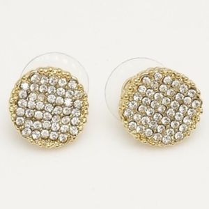 Pave 18k Gold Plated Round Studs